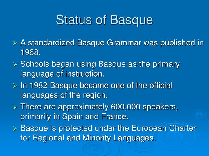 Status of Basque