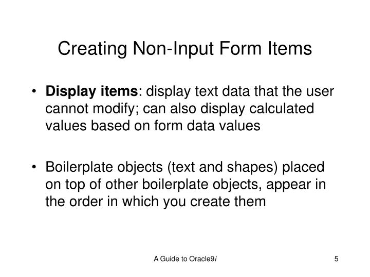 Creating Non-Input Form Items