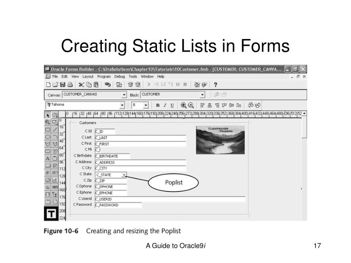 Creating Static Lists in Forms