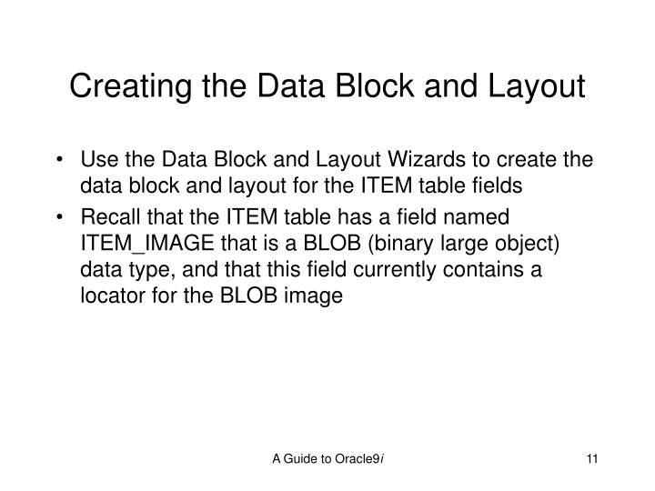 Creating the Data Block and Layout