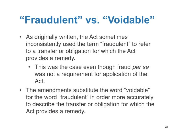 """Fraudulent"" vs. ""Voidable"""