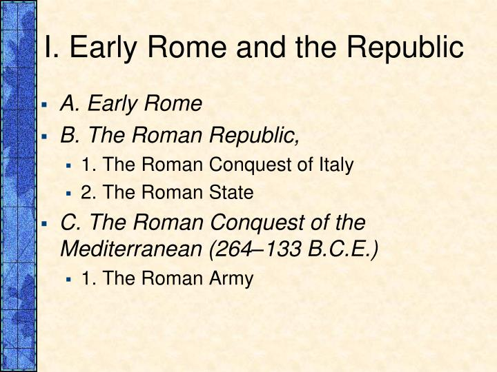 I early rome and the republic