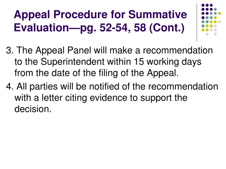 Appeal Procedure for Summative Evaluation—pg. 52-54, 58 (Cont.)