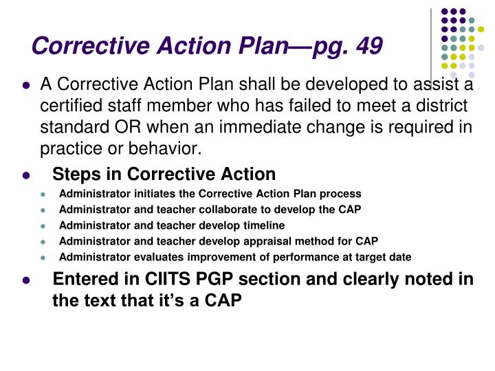 Corrective Action Plan—pg. 49