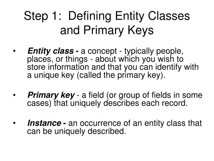 Step 1:  Defining Entity Classes