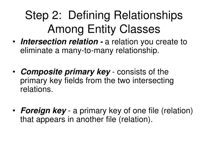 Step 2:  Defining Relationships Among Entity Classes