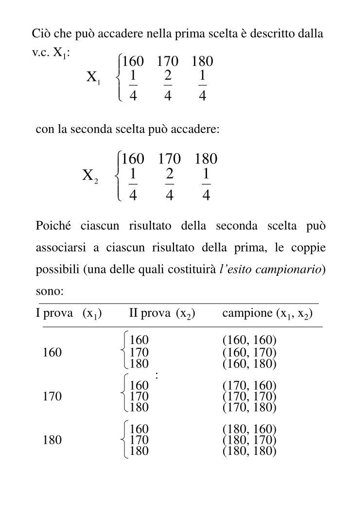 Ciò che può accadere nella prima scelta è descritto dalla v.c. X