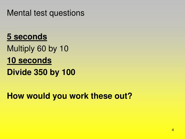 Mental test questions