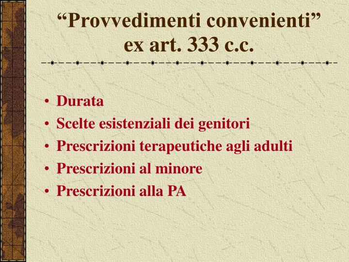 """Provvedimenti convenienti"" ex art. 333 c.c."