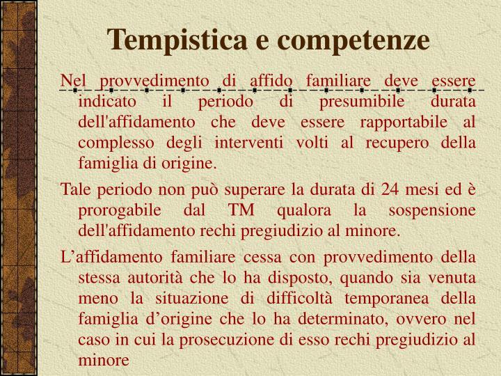 Tempistica e competenze