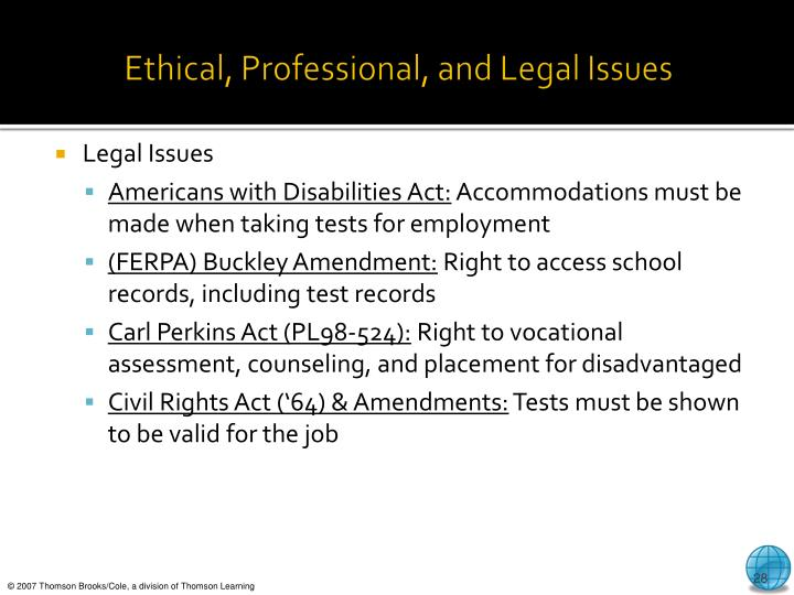 Ethical, Professional, and Legal Issues