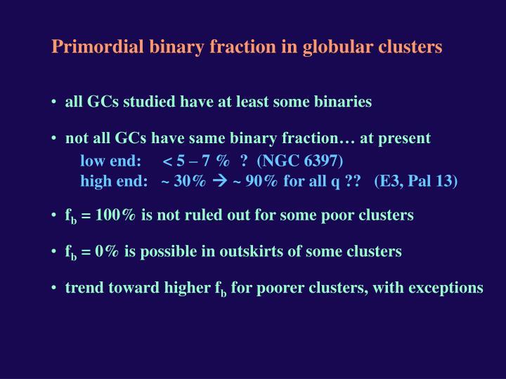 Primordial binary fraction in globular clusters