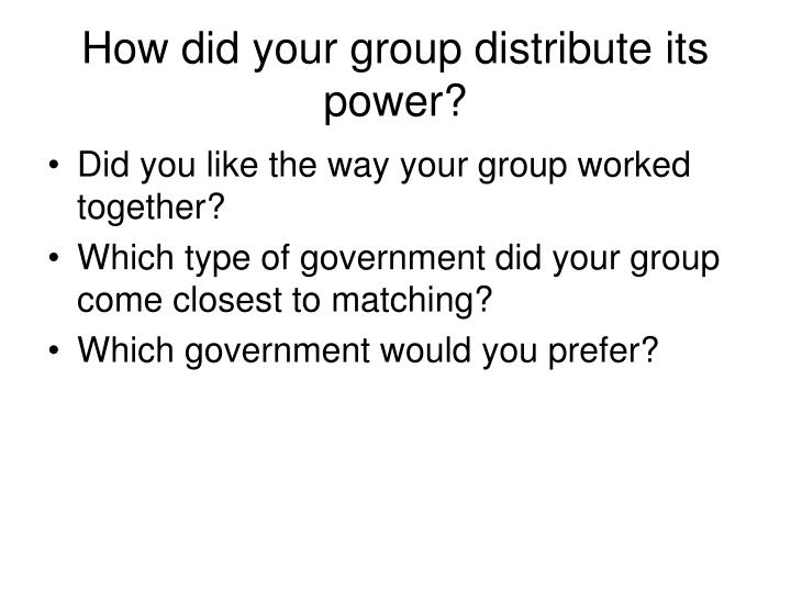 How did your group distribute its power?