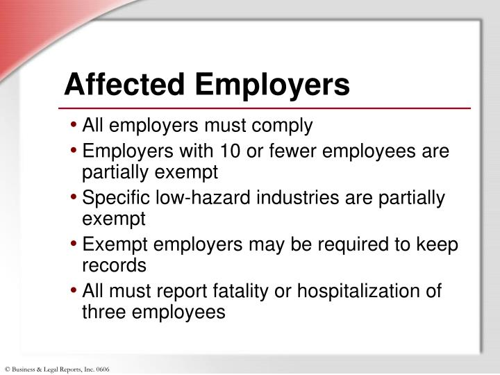 Affected employers