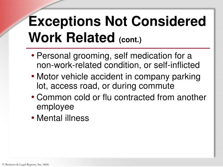 Exceptions Not Considered Work Related