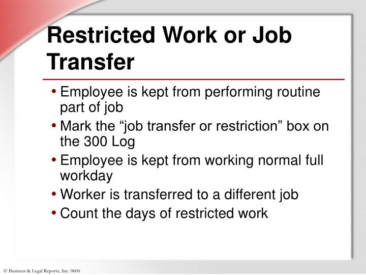 Restricted Work or Job Transfer