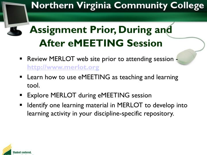 Assignment Prior, During and After eMEETING Session
