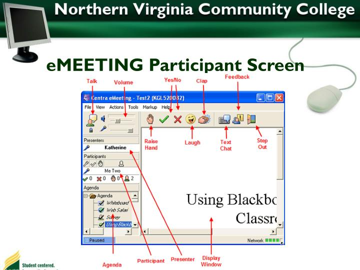 eMEETING Participant Screen