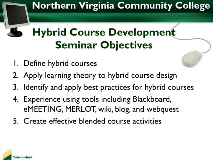Hybrid Course Development Seminar Objectives