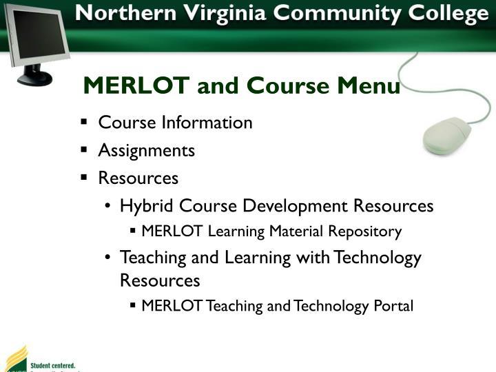 MERLOT and Course Menu
