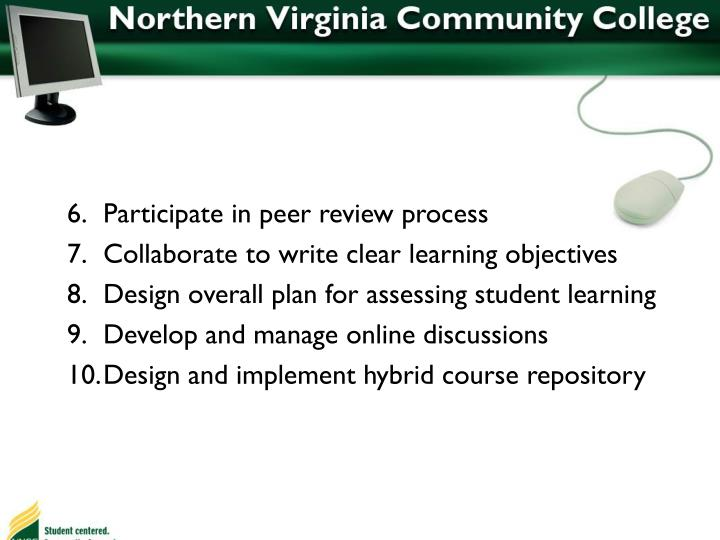Participate in peer review process