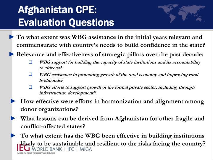 Afghanistan CPE: