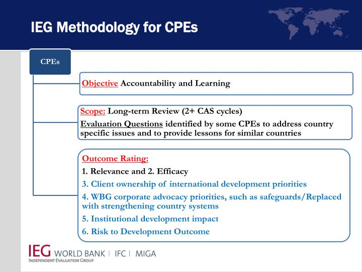 Ieg methodology for cpes