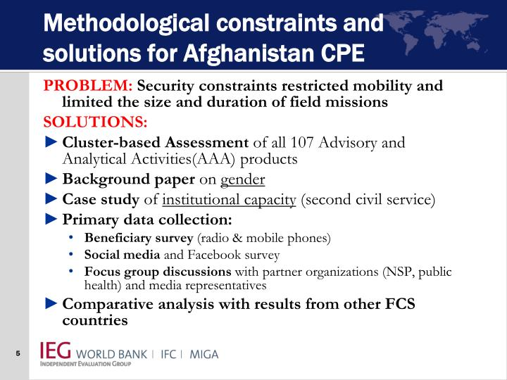 Methodological constraints and solutions for Afghanistan CPE