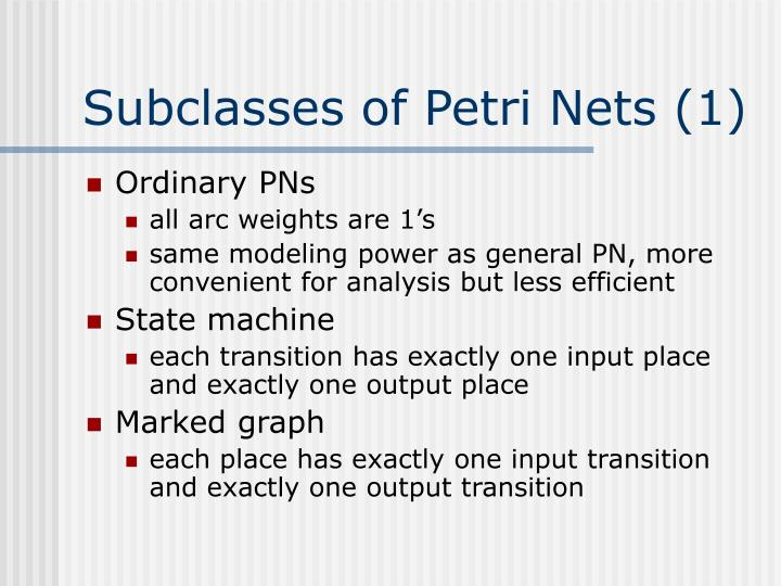 Subclasses of Petri Nets (1)