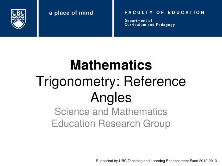 Mathematics trigonometry reference angles