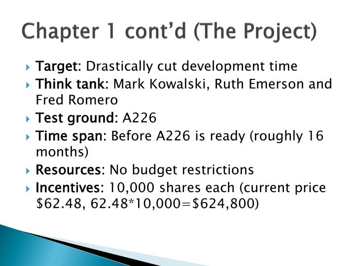 Chapter 1 cont'd (The Project)