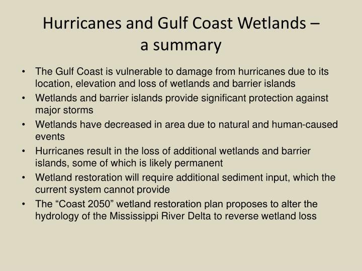 Hurricanes and Gulf Coast Wetlands –         a summary
