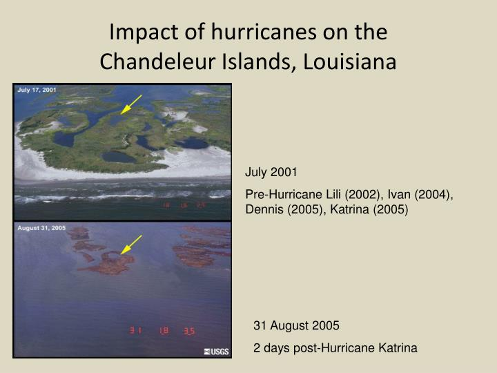 Impact of hurricanes on the        Chandeleur Islands, Louisiana