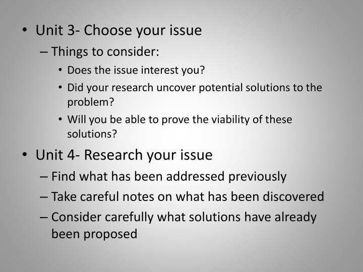 Unit 3- Choose your issue