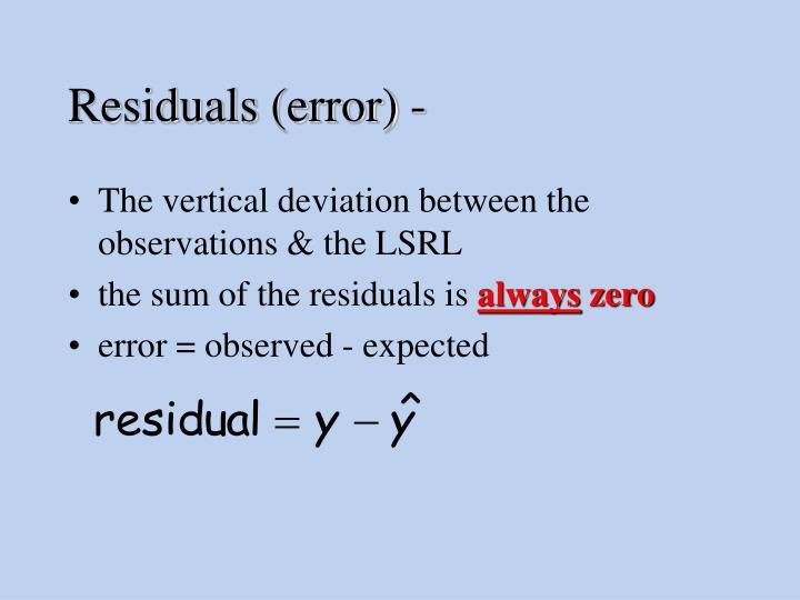 Residuals (error) -