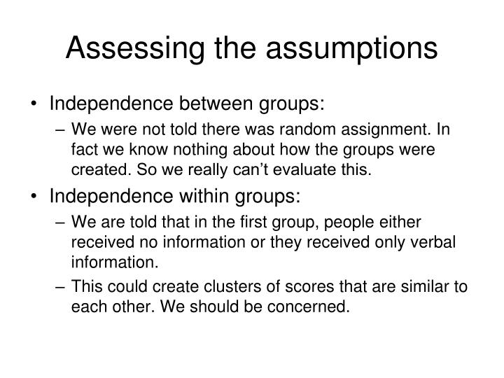 Assessing the assumptions
