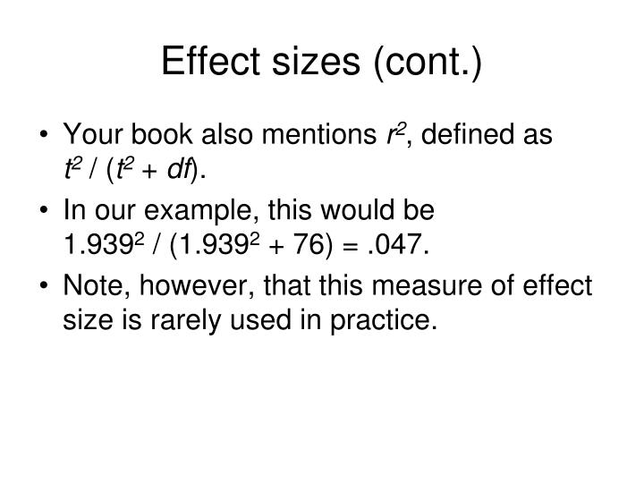 Effect sizes (cont.)