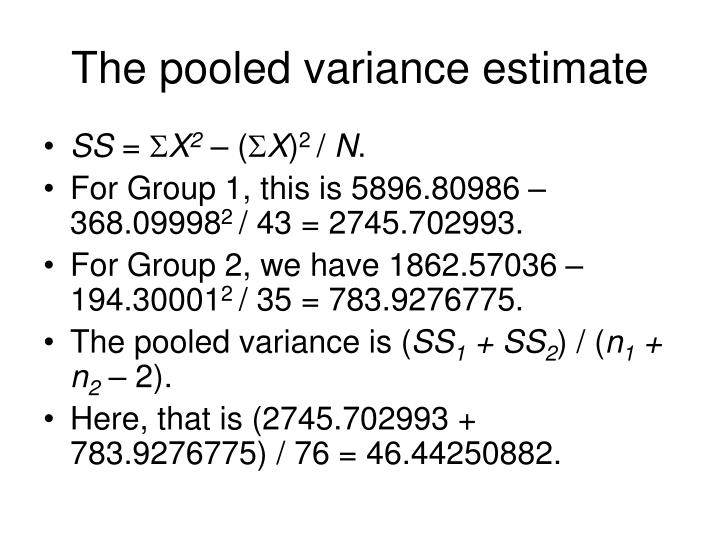 The pooled variance estimate