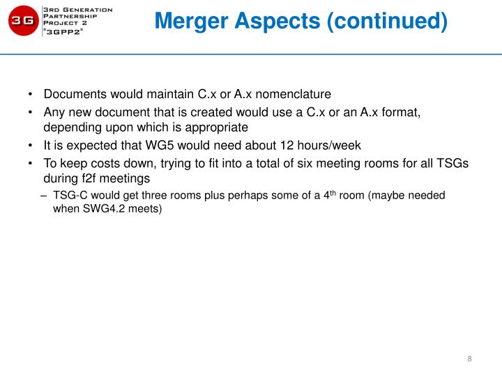 Merger Aspects (continued)