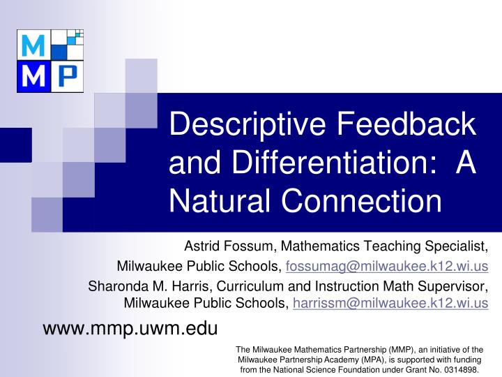 Descriptive feedback and differentiation a natural connection