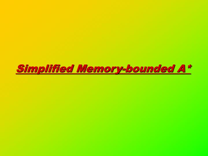 Simplified Memory-bounded A*