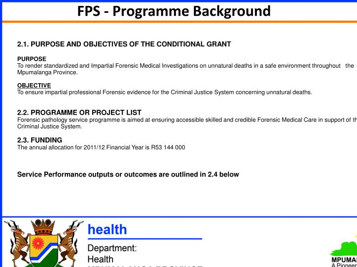 FPS - Programme Background