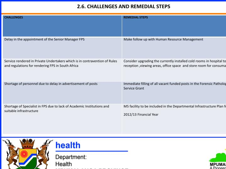 2.6. CHALLENGES AND REMEDIAL STEPS