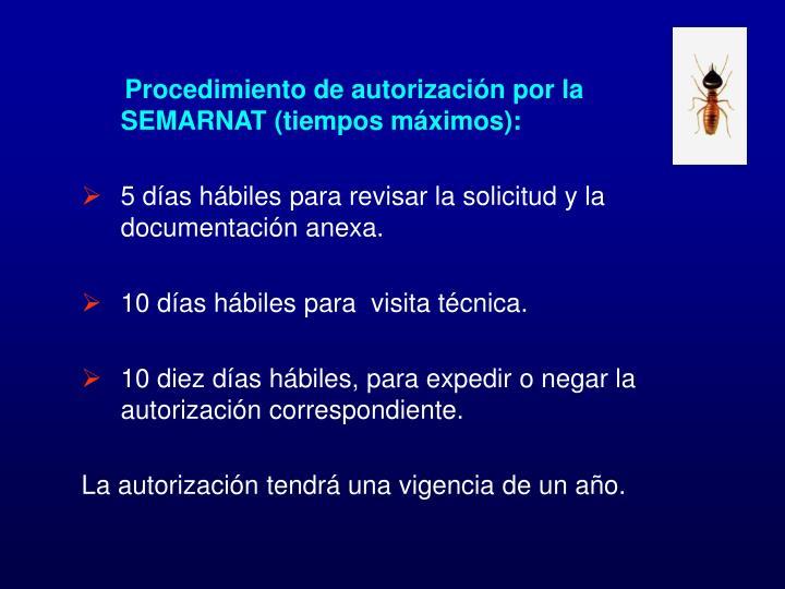 Procedimiento de autorización por la SEMARNAT (tiempos máximos):