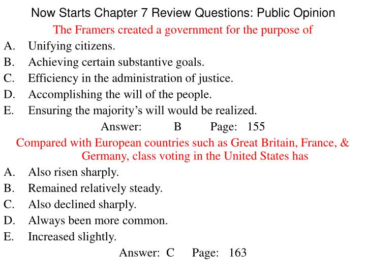 Now Starts Chapter 7 Review Questions: Public Opinion