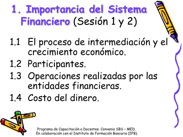1. Importancia del Sistema Financiero