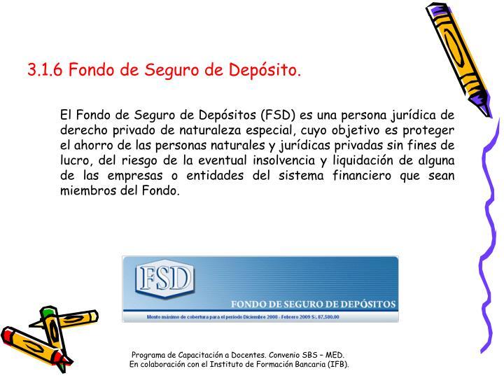 3.1.6 Fondo de Seguro de Depósito.