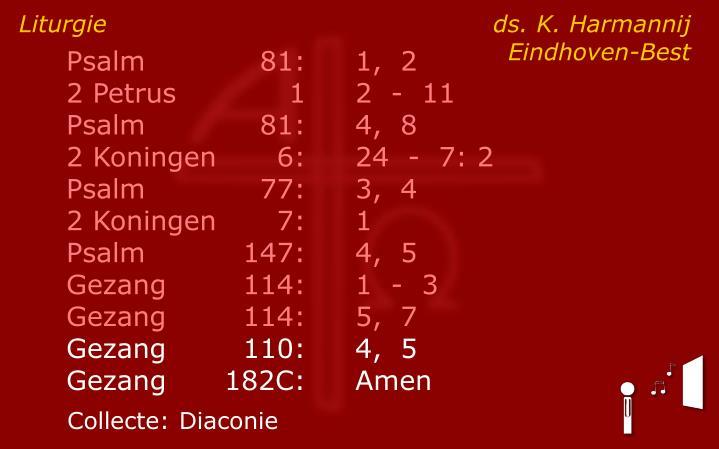 Liturgie ds. K. Harmannij