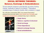 social network theories balance exchange embeddedness