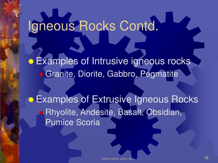 Igneous Rocks Contd.